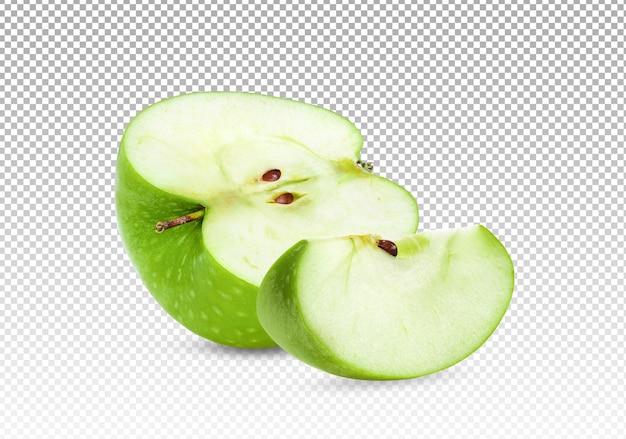 La Moitié D'une Pomme Verte Avec Tranche Isolée PSD Premium