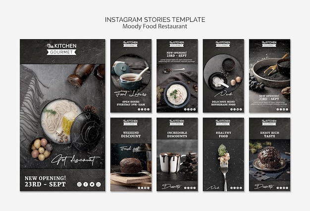Moody Food Restaurant Instagram Stories Concept Mock-up Psd gratuit