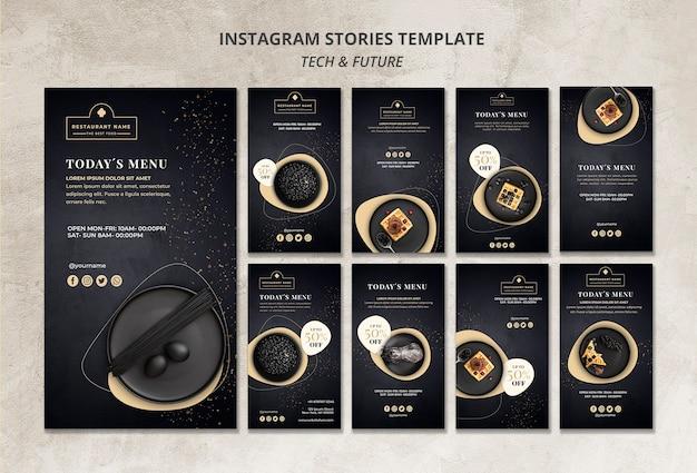 Moody Food Restaurant Instagram Stories Modèle Concept Maquette Psd gratuit