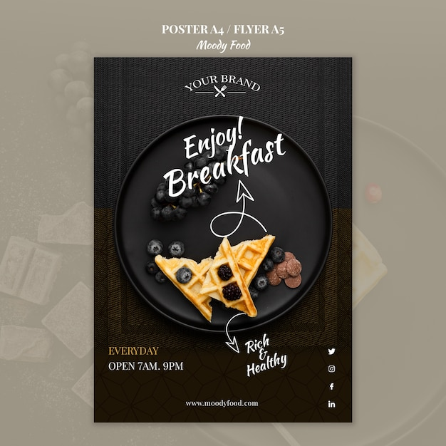 Moody Food Restaurant Poster Concept Mock-up Psd gratuit