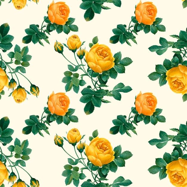 Motif Floral Jaune Psd gratuit