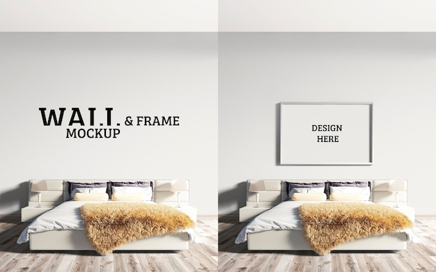 Mur Et Cadre Maquette Chambre A Un Grand Lit PSD Premium