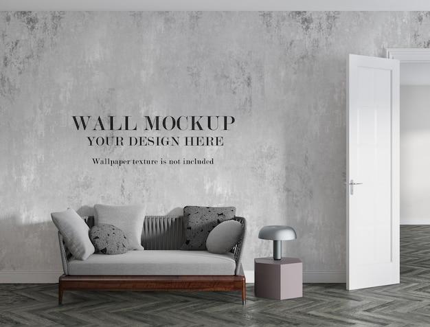 Mur De Conception De Maquette Vide Derrière Un Petit Canapé PSD Premium