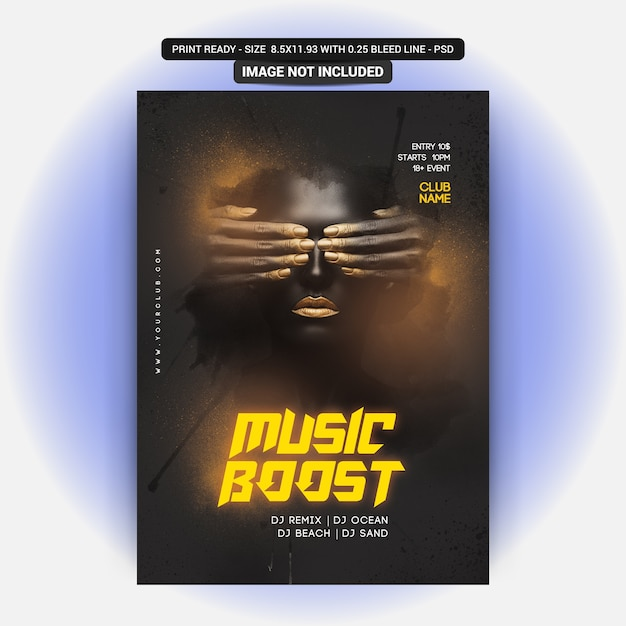 Music boost party flyer PSD Premium