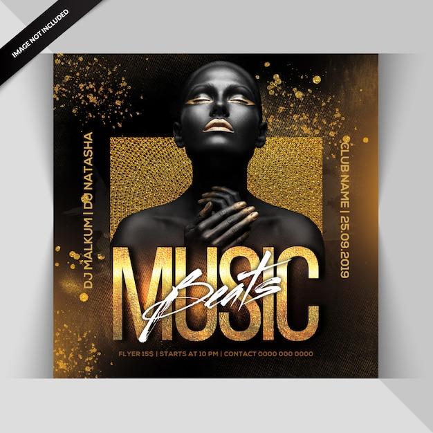 La musique bat le pary flyer PSD Premium