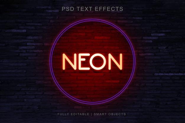 Néon cercle style effet de texte PSD Premium