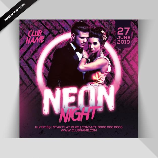 Neon party flyer PSD Premium