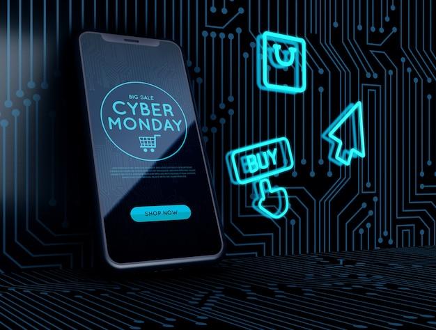Néon signe à côté de cyber lundi téléphone Psd gratuit