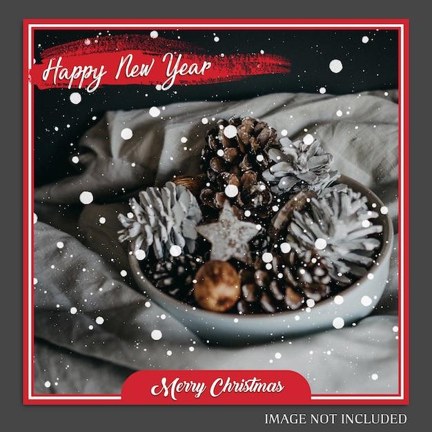 Noël et bonne année 2019 maquette de photo et modèle de publication instagram PSD Premium