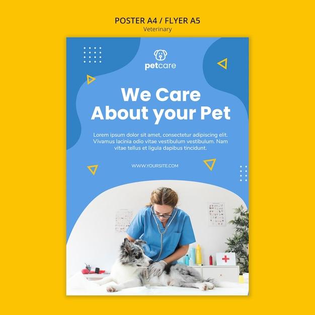 Nous Nous Soucions De Votre Modèle D'affiche Vétérinaire Pour Animaux De Compagnie Psd gratuit