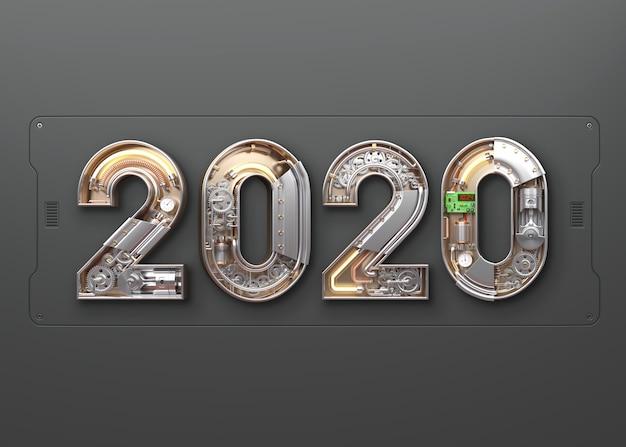 Nouvel an 2020 en alphabet mécanique PSD Premium