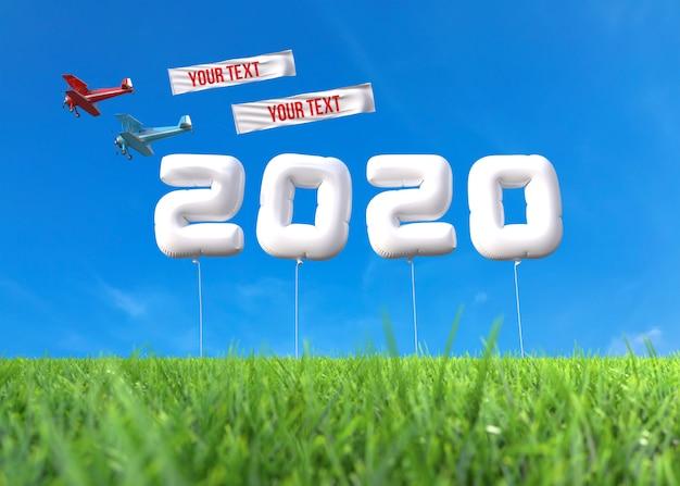 Nouvel an 2020 fabriqué à partir de ballons sur le terrain PSD Premium