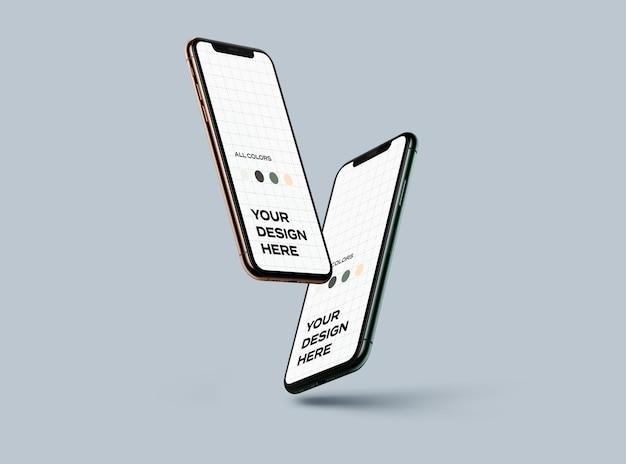 Nouvelle Maquette De Smartphones Flottante PSD Premium