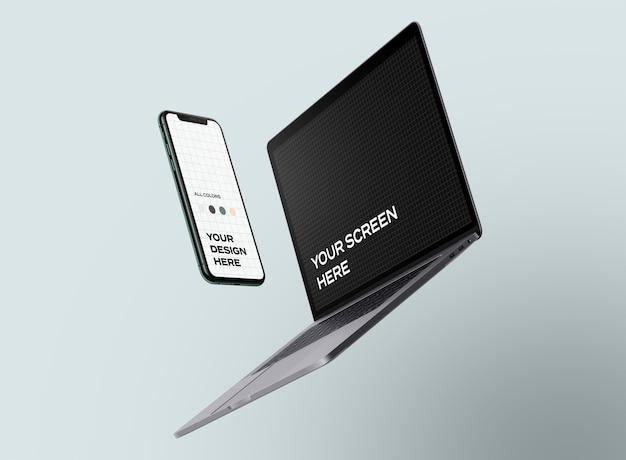 Nouvelles Maquettes De Smartphone Et D'ordinateur Portable Flottantes PSD Premium