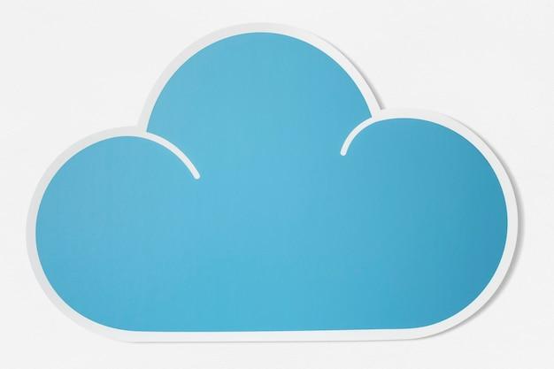 Nuage bleu découpe icône PSD Premium