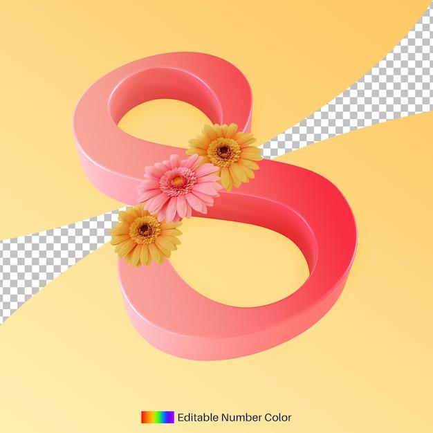 Numéro Huit Avec Fleur Pour La Célébration De La Journée Internationale De La Femme Rendu 3d PSD Premium