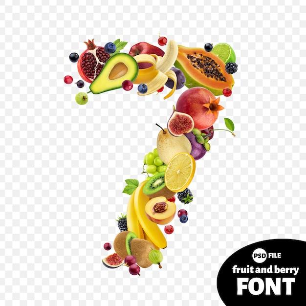 Numéro sept fait avec des fruits PSD Premium