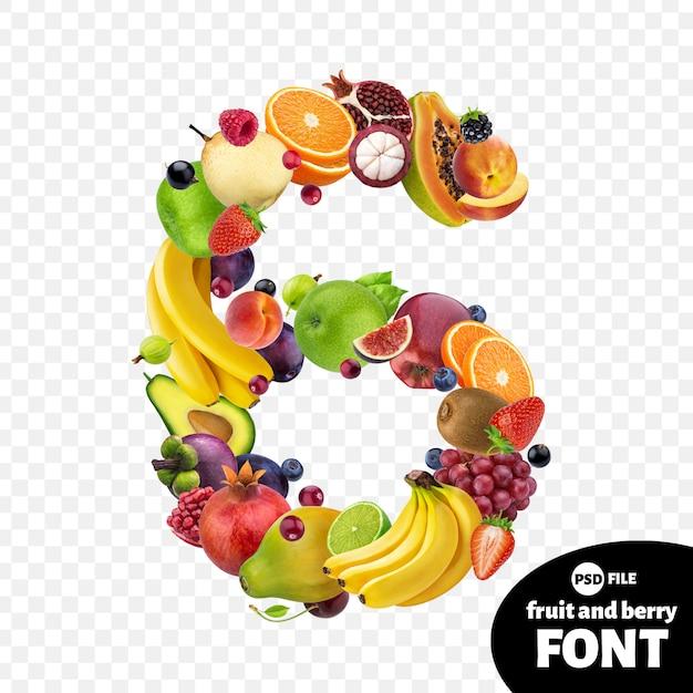 Numéro six à base de fruits PSD Premium