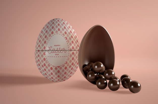 Oeuf En Chocolat Avec Petits œufs En Chocolat Psd gratuit