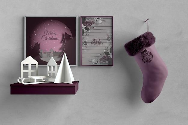 Oeuvre D'artiste Miniature Avec Chaussette Suspendue Psd gratuit
