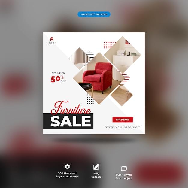 Offre de mobilier sur les réseaux sociaux post template premium psd PSD Premium