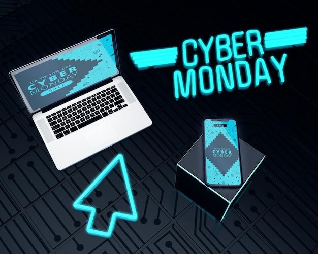 Ordinateur et téléphone cyber ventes du lundi Psd gratuit