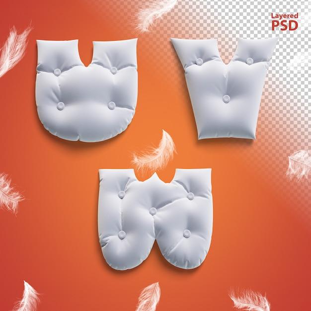 Oreiller Lettres 3d Avec Des Plumes. Lettre U, V, W. PSD Premium