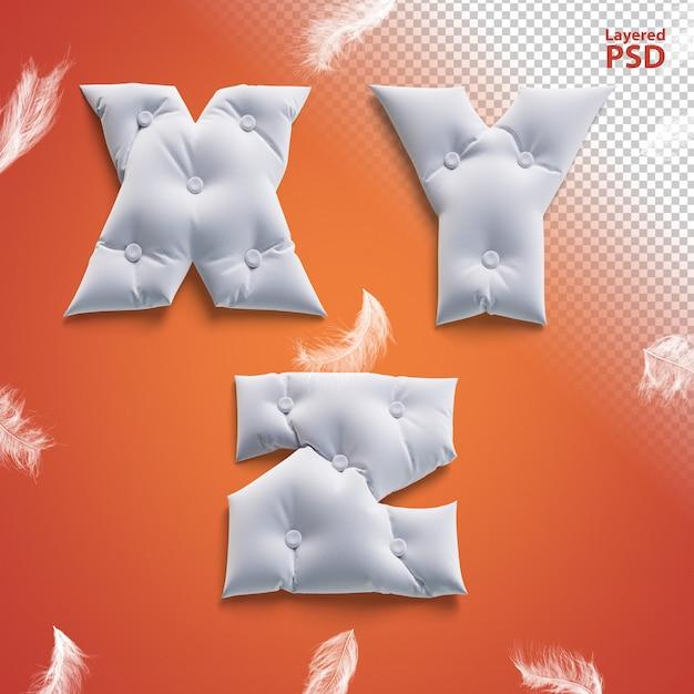 Oreiller Lettres 3d Avec Des Plumes. Lettre X, Y, Z. PSD Premium