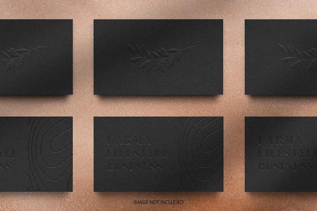 Organiser Une Maquette De Logo En Relief Pour Carte De Visite Noire PSD Premium
