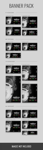Pack De Bannières De Différentes Tailles Avec Le Thème Du Coronavirus (covid-19), Fichier Psd PSD Premium