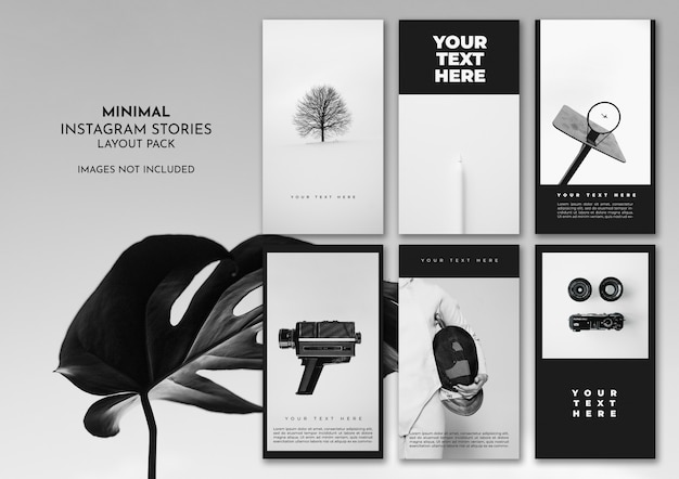 Pack de présentation instagram minimal black and white Psd gratuit