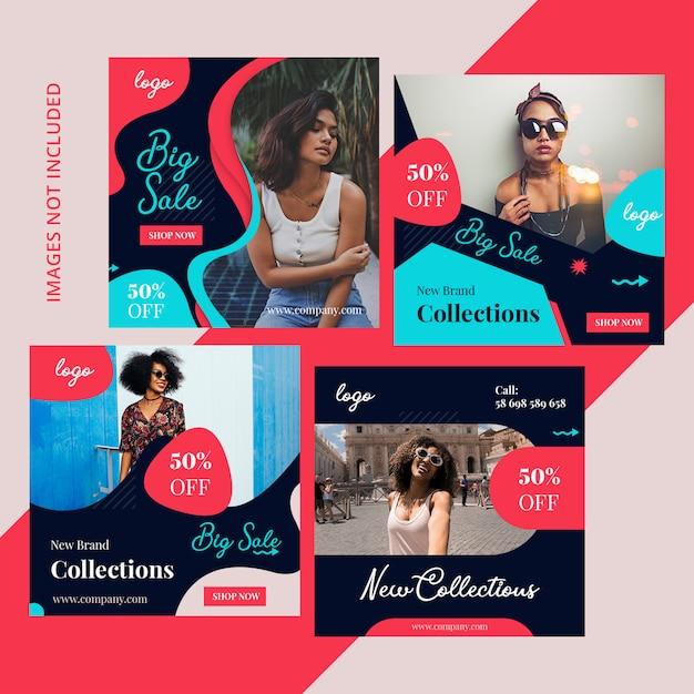 Pack shopping marketing sur les réseaux sociaux PSD Premium