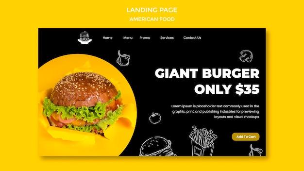 Page De Destination De La Cuisine Américaine Psd gratuit