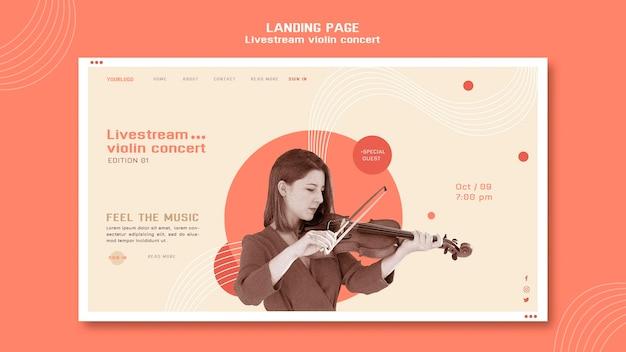 Page De Destination Du Concert De Violon En Direct Psd gratuit