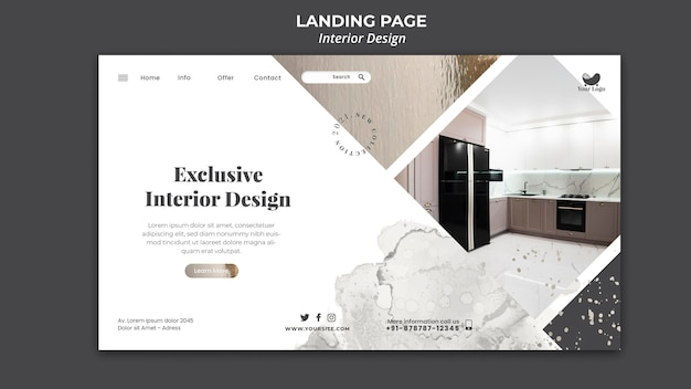 Page De Destination Du Modèle De Design D'intérieur Psd gratuit