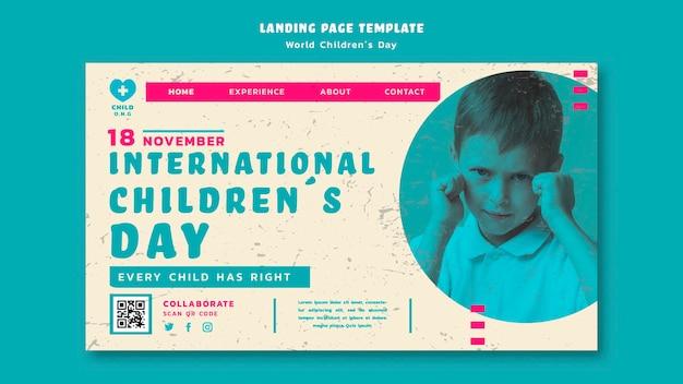 Page De Destination De La Journée Des Enfants PSD Premium