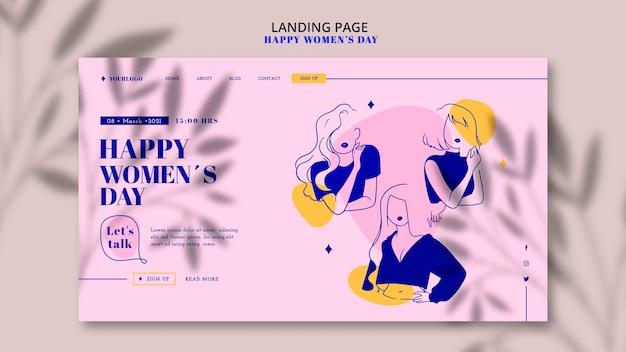 Page De Destination De La Journée De La Femme Heureuse Psd gratuit