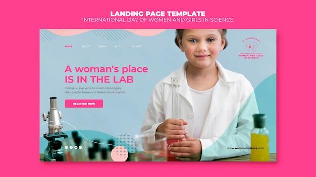 Page De Destination De La Journée Des Femmes Et Des Filles Dans La Science PSD Premium