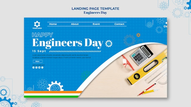 Page De Destination De La Journée Des Ingénieurs PSD Premium