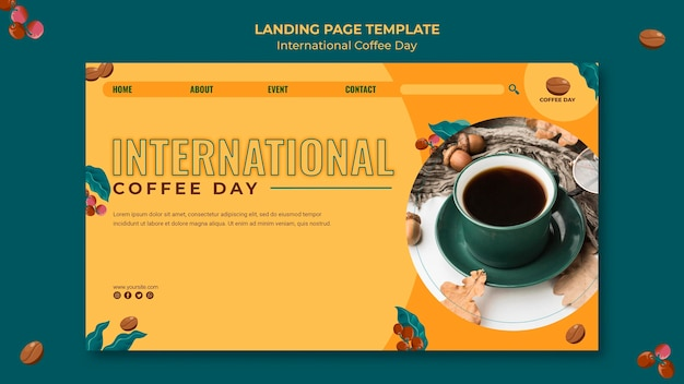 Page De Destination De La Journée Internationale Du Café Psd gratuit