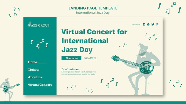 Page De Destination De La Journée Internationale Du Jazz PSD Premium