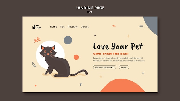 Page De Destination Pour L'adoption D'un Chat PSD Premium
