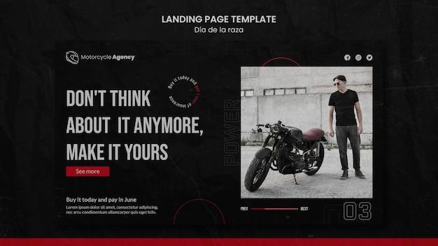 Page De Destination Pour Une Agence De Moto Avec Un Pilote Masculin PSD Premium