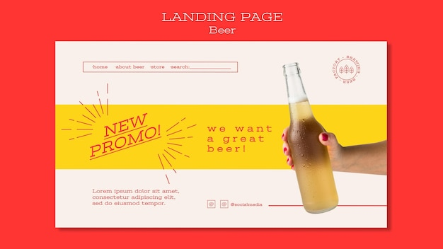 Page De Destination Pour Les Amateurs De Bière Psd gratuit
