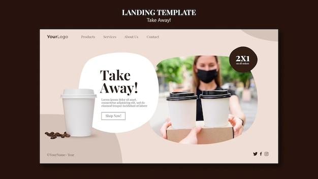Page De Destination Pour Le Café à Emporter Psd gratuit