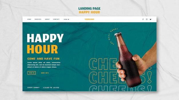 Page De Destination Pour L'happy Hour PSD Premium