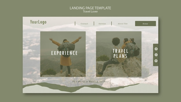 Page De Destination Pour Voyager En Plein Air Psd gratuit