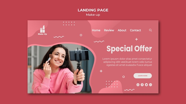 Page De Destination Des Produits De Maquillage Psd gratuit