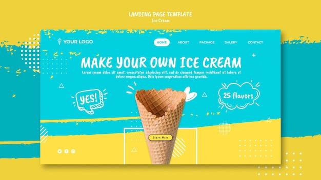 Page De Destination Avec Le Thème De La Crème Glacée Psd gratuit