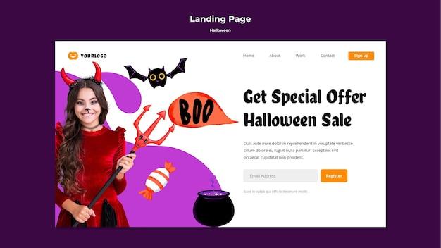 Page De Destination De La Vente D'halloween Psd gratuit